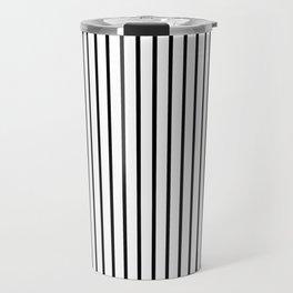 Black Pinstripe On White Pattern Travel Mug