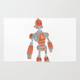 brown robot with lamp head Rug