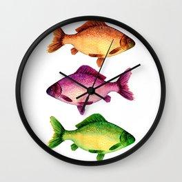 Three vibrant fishes Wall Clock