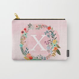 Flower Wreath with Personalized Monogram Initial Letter X on Pink Watercolor Paper Texture Artwork Carry-All Pouch