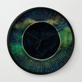 New Moon Original Mixed Media Painting Wall Clock