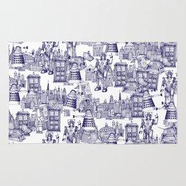 Doctor Who Toile de Jouy   'Walking Doodle'   Blue Rug