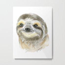 Sloth Face Watercolor Painting Animal Art Metal Print