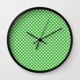 White Heart-Shaped Clover on Green St. Patrick's Day Wall Clock