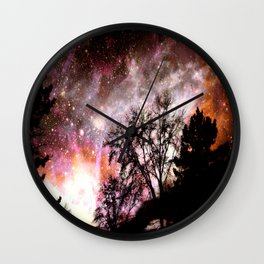 Black Trees Pink Peach Sorbet Space Wall Clock