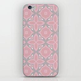 Fashionable pink and grey geometric pattern iPhone Skin