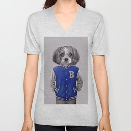 dog boy portrait Unisex V-Neck