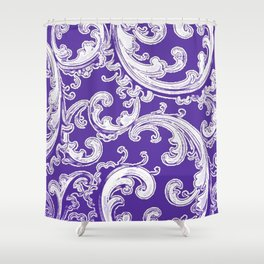 Purple Retro Chic Swirl Shower Curtain