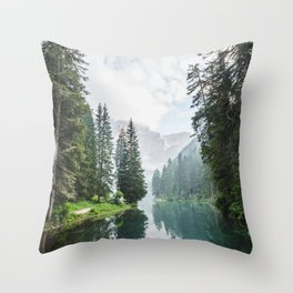 Forest Reflection in Italy Throw Pillow
