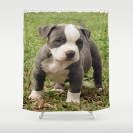 Pit Bull Puppy Shower Curtain