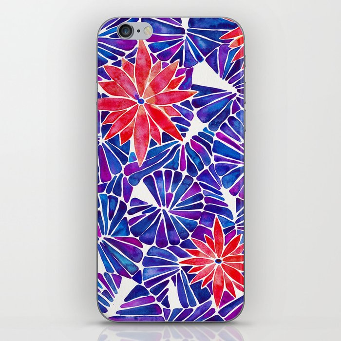 Water Lilies – Indigo & Red Palette iPhone Skin