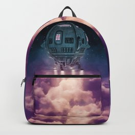 Out of the atmosphere / 3D render of spaceship rising above clouds Backpack