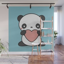 Kawaii Cute Panda With Heart Wall Mural