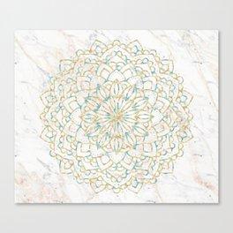 Marble Mandala Sea Shimmer Gold + Turquoise Canvas Print
