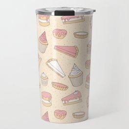 Pink Pastry Pattern Travel Mug