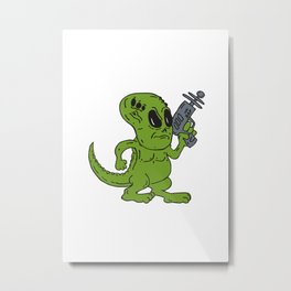 Alien Dinosaur Holding Ray Gun Cartoon Metal Print