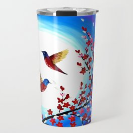 Red Cherry Blossom Travel Mug