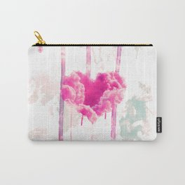 Bleed   Modern Pink Cloud Love Heart Pink Watercolor Drips Carry-All Pouch