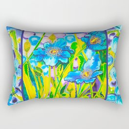 Blue Poppies 2 with Border Rectangular Pillow