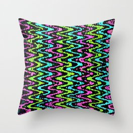 Wavy Neon Throw Pillow