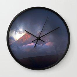 Volcanoes Clouded in Guatemala Wall Clock