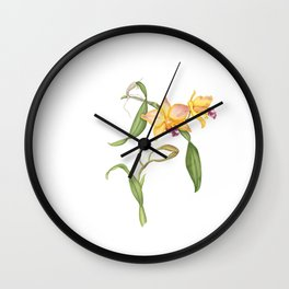 Flowering yellow cattleya orchid plant Wall Clock