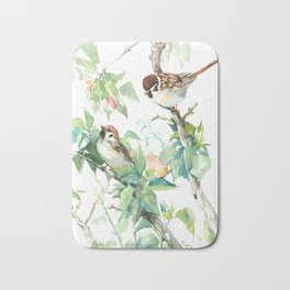 Sparrows And Apple Blossom Bath Mat