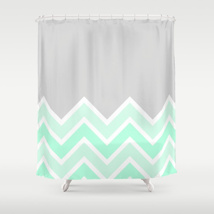 TWO TONE MINT CHEVRON COLORBLOCK Shower Curtain