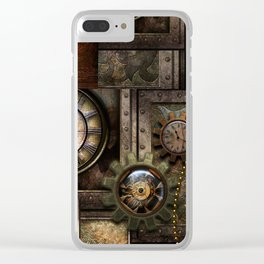 Steampunk, wonderful clockwork with gears Clear iPhone Case