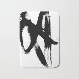 Brushstroke 2 - simple black and white Bath Mat
