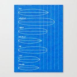 Surfboard shapes blueprint Canvas Print