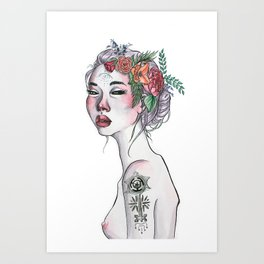 Wicked Woman Ink and Watercolour Illustration Art Print