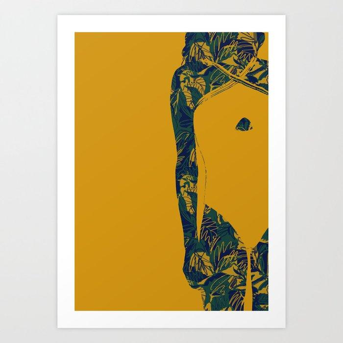 Mustard and Blue (Jungle Lady) Art Print