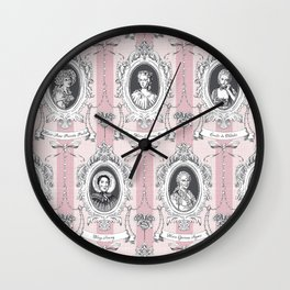 Science Women Toile de Jouy - Pink Wall Clock