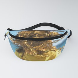 Young bonde woman shakes her curly hair at the beach Fanny Pack