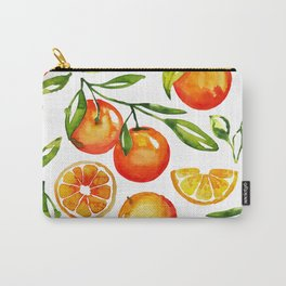 oranges watercolor tangerine fruit print Carry-All Pouch