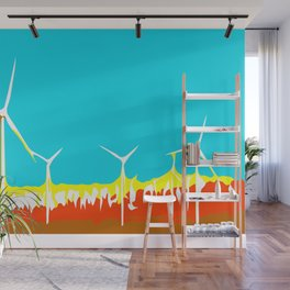 wind turbine in the desert with blue sky Wall Mural