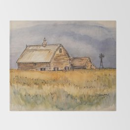 Barns and Windmill Throw Blanket