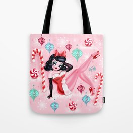 Christmas Pinup Girl Tote Bag