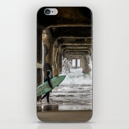 Surfer in Manhattan Beach, California iPhone Skin