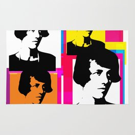 YOUNG ENID BLYTON, ENGLISH CHILDRENS NOVELIST, POP ART STYLE COLLAGE Rug