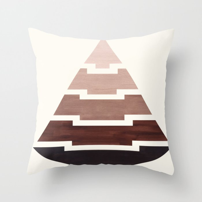 Raw Umber Watercolor Ombre Geometric Aztec Triangle Pyramid Pattern Minimalist Mid Century Design Throw Pillow