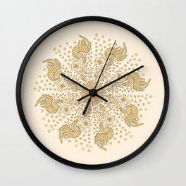 Ivory and Gold Peacock Mandala Wall Clock