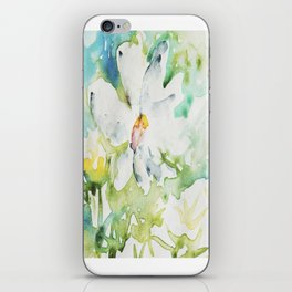 White Daisy Doodle watercolor by CheyAnne Sexton iPhone Skin