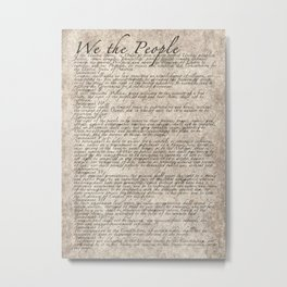 United States Bill of Rights (US Constitution) Metal Print