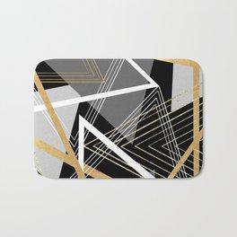 Original Gray and Gold Abstract Geometric Bath Mat