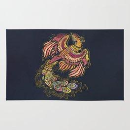 Watercolor Phoenix bird Rug