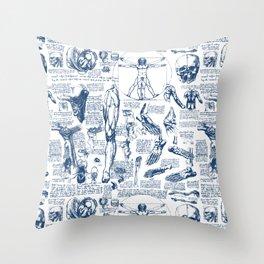 Da Vinci's Anatomy Sketchbook // Dark Blue Throw Pillow