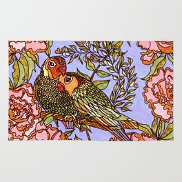 Lovebirds With Peony Wreath Rug