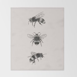 Three Bees Throw Blanket